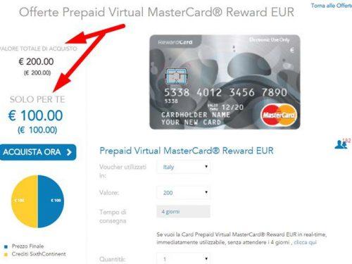 Sixth Continent  –  Altra Favolosa News da Febbraio : MasterCard Virtuali Prepagate dai 50 a 750 Euro